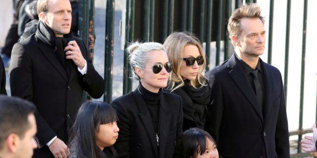 David Hallyday, Laura Smet et Laeticia Hallyday lors de l'hommage populaire pour Johnny Hallyday le 9...