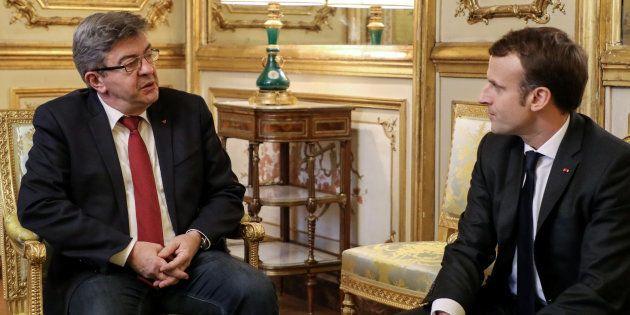 Jean-Luc Mélenchon face à Emmanuel Macron lors d'une rencontre à