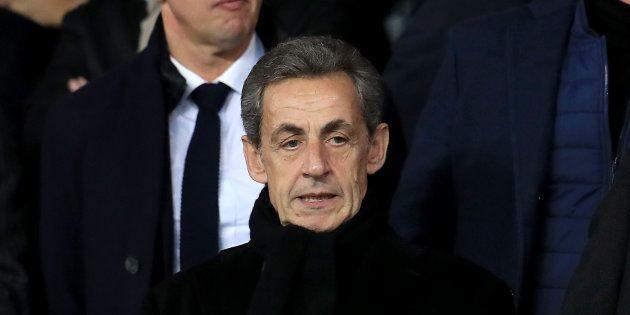 Nicolas Sarkozy lors de PSG-Liverpool au Parc des Princes le 28 novembre