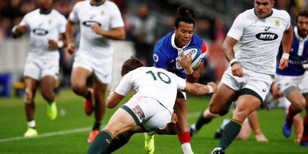 Le rugbyman français Teddy Thomas lors du match contre l'Afrique du Sud le 10
