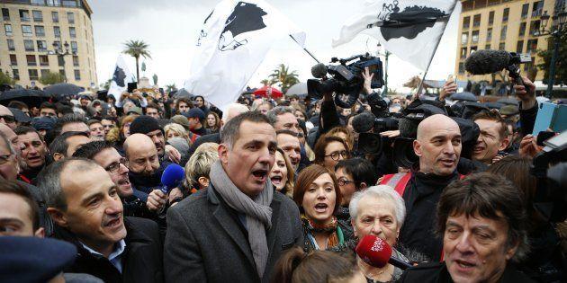 Gilles Simeoni et Jean-Guy Talamoni lors de la manifestation du 3 février 2018 à