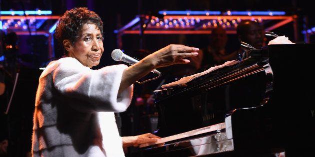 Aretha Franklin, le 7 novembre 2017 à New York lors de sa dernière apparition artistique au profit de...