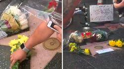 Les fans d'Aretha Franklin viennent fleurir son étoile sur Hollywood