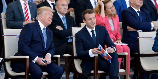 Donald Trump et Emmanuel Macron lors du défile du 14 juillet 2017 à