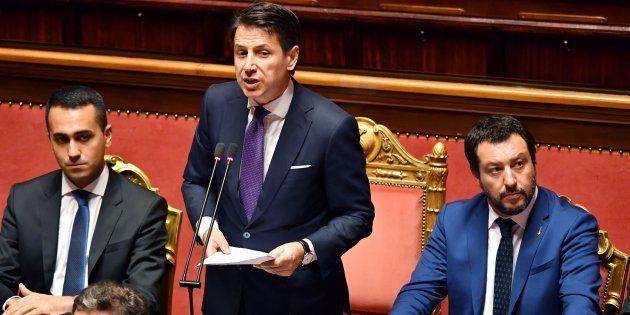Luigi Di Maio, Giuseppe Conte et Matteo Salvini au Sénat à Rome le 5 juin