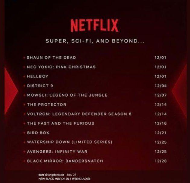 Le tweet du programme Netflix de décembre, depuis