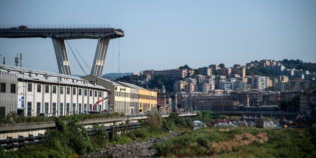 Le pont Morandi effondré à Gênes, le 17 août