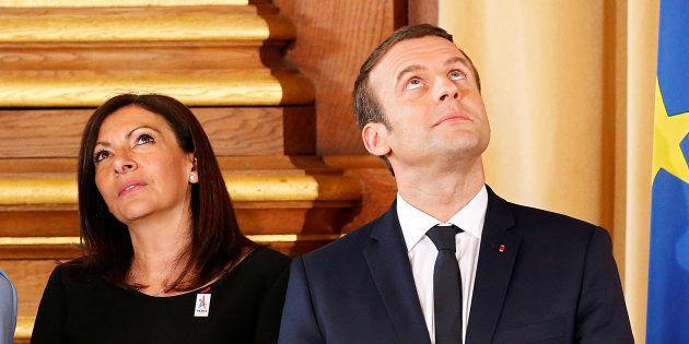 Emmanuel Macron et Anne Hidalgo au mois de mai à l'Hôtel de Ville de
