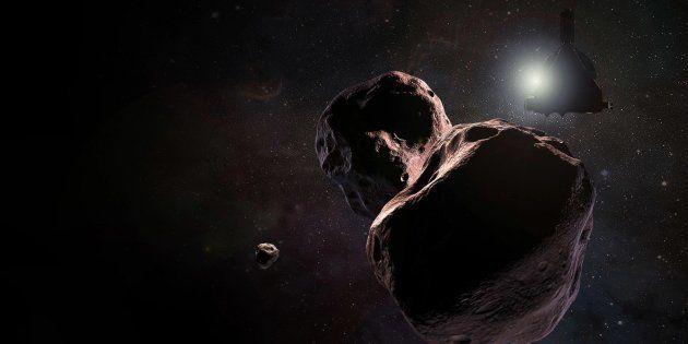 La sonde New Horizons devant l'astre Ultima Thule (vue