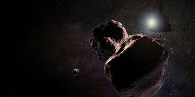 La sonde New Horizon devant l'astre Ultima Thule (vue