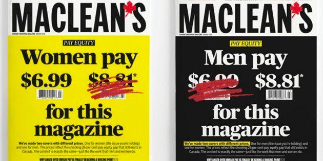 Pour lutter contre les inégalités salariales entre les femmes et les hommes, l'hebdomadaire canadien Maclean's a créé deux couvertures pour son prochain numéro.