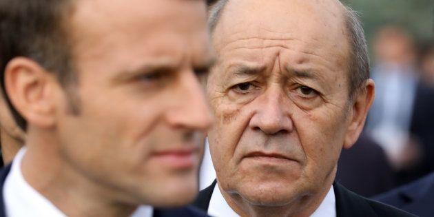 Emmanuel Macron et Jean-Yves Le Drian en Arménie, en octobre