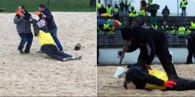 Gilets jaunes: trois personnes mises en examen après la décapitation d'une effigie de Macron (Photo prise...