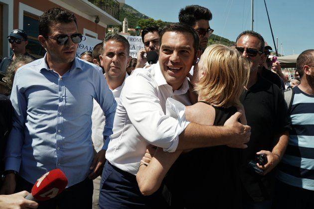 Le Premier ministre grec Alexis Tsipras le 21 août sur l'île