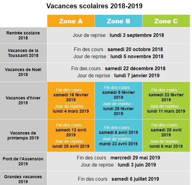 Calendrier Scolaire 2019 Zone A.Vacances Scolaires 2018 Et 2019 Decouvrez Le Calendrier