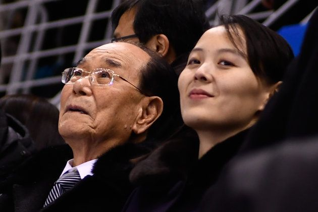 La soeur du leader nord-coréen Kim Yo Jong et le dignitaire Kim Yong Nam dans les