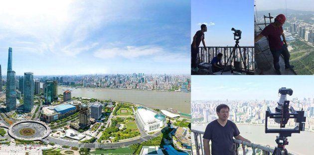 Coulisses du panorama de Shanghai, réalisé en haut de la Perle de