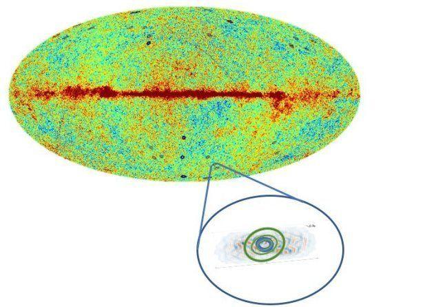 L'ovale représente le fonds diffus cosmologique. La zone en bas à droite l'un des cercles repérés par...