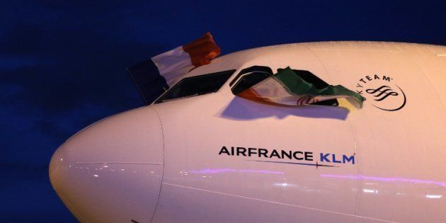 Un avion d'Air France arrivant le 17 avril 2016 à l'aéroport de Téhéran, après une suspension de la liaison...