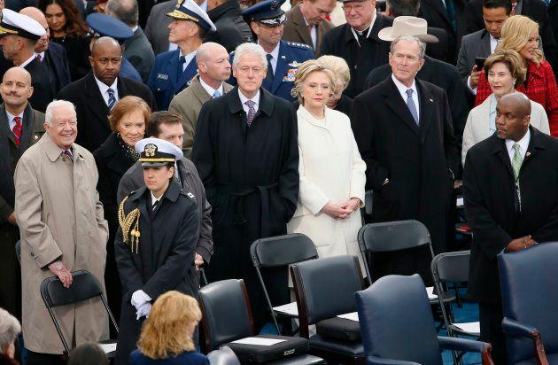 Jimmy Carter, Rosalynn Carter, Bill Clinton, Hillary Clinton, George W. Bush et Laura Bush lors de l'investiture...