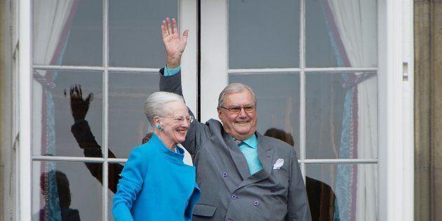 Le prince Henrik de Danemark et son épouse Margrethe à Copenhague le 16 avril