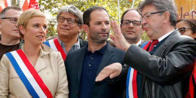Jean-Luc Mélenchon et Benoît Hamon ensemble à Paris au mois de septembre