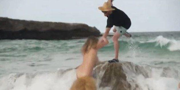 La chute de Kate Upton pendant son shooting pour le Sports Illustrated Swimsuit