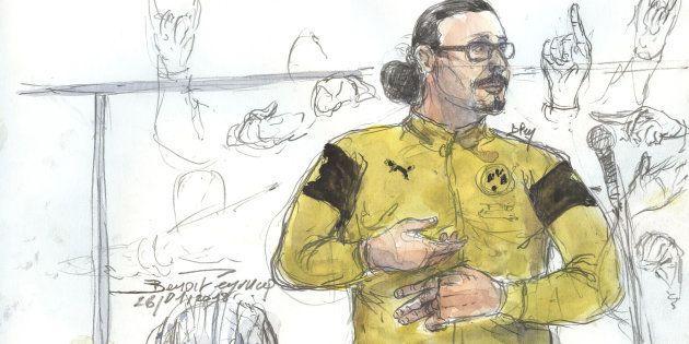 JawadBendaoud (dessiné le 26 janvier au palais de justice de Paris) est condamné à XX ans de