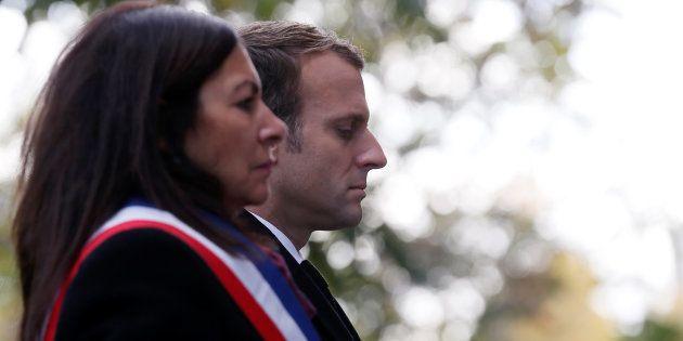 La maire de Paris Anne Hidalgo et le président Emmanuel Macron lors des commémorations des attentats...