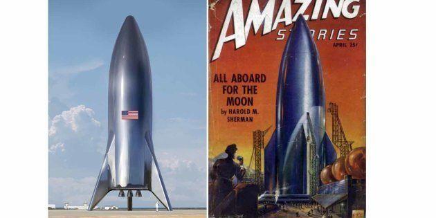 Le design imaginé par Elon Musk de la future fusée de SpaceX et celui imaginé en 1950 pour aller sur...