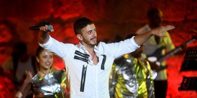 Saad Lamjarred lors d'un concert à Carthage (Tunisie) en juillet