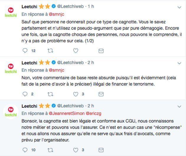 Leetchi répondant aux interrogations des internautes sur la cagnotte en faveur de Christophe