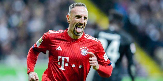 Franck Ribéry célébrant son but contre Francfort le 22
