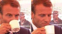 La tête de Macron après avoir bu du café finlandais n'est pas passée