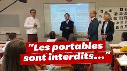 Macron n'a pas manqué l'occasion de rappeler avec humour l'interdiction des portables au