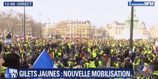 Le cortège parisien des gilets jaunes est arrivé place de la Bastille après une heure de