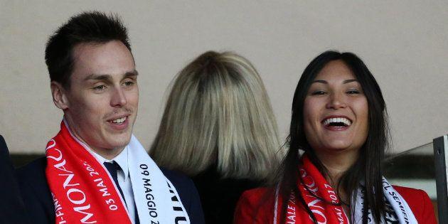 Louis Ducruet et Marie Chevalier au Stade Louis II de Monaco le 3 mai