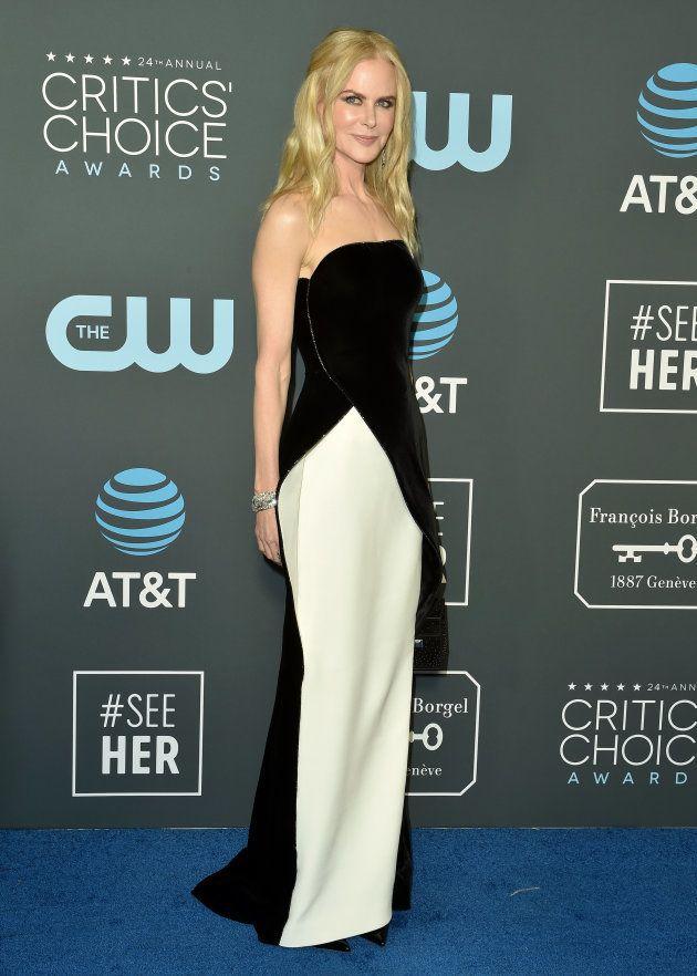 Nicole Kidman en blanc et noire lors de la 24ème édition des Critics' Choice