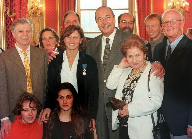 Roxana Maracineanu et sa famille originaire de Roumanie, en visite à l'Élysée le 18 janvier