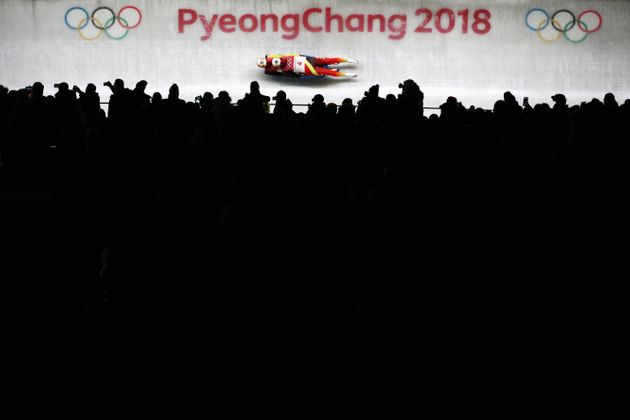 PYEONGCHANG-GUN, SOUTH KOREA - FEBRUARY 14: Toni Eggert and Sascha Benecken of Germany make a run during...