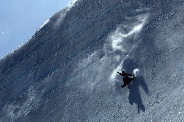 PYEONGCHANG-GUN, SOUTH KOREA - FEBRUARY 12: Anna Gasser of Austria competes in the Snowboard Ladies'...