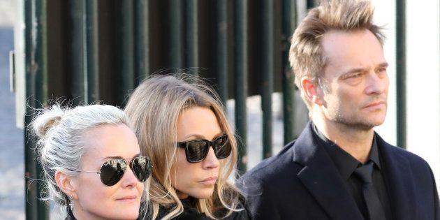 Laetitia Hallyday, Laura Smet et David Hallyday à l'enterrement de Johnny
