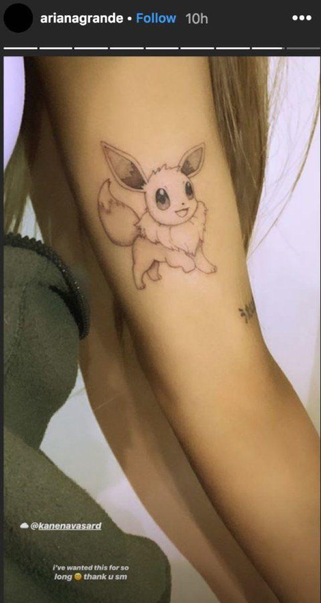 Ariana dévoile son nouveau tatouage Pokémon dans sa story