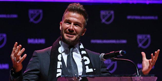 David Beckham, lors de l'annonce de son projet de lancer un club de football à Miami le 29 janvier