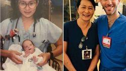 28 ans après, elle travaille avec le bébé prématuré dont elle s'était