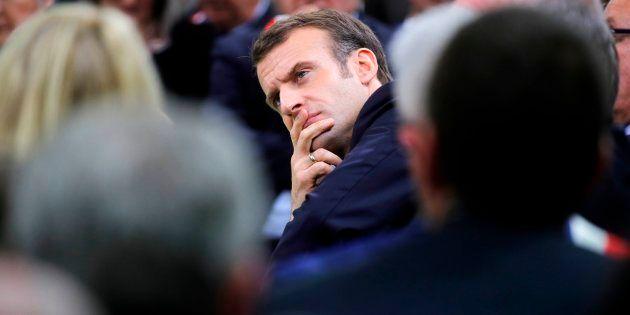 Emmanuel Macron lors du lancement du grand débat à Grand Bourgtheroulde (Eure) le 15 janvier