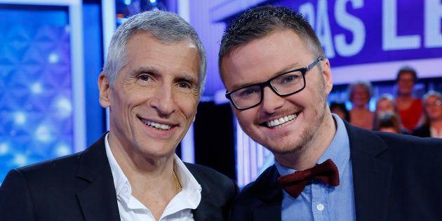 Nagui en compagnie du candidat Renaud, deuxième meilleur maestro de l'histoire du jeu de France