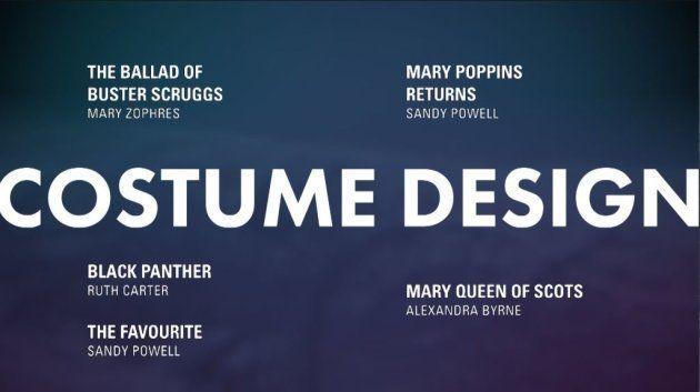 Meilleurs costumes Oscars