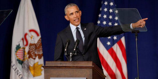 Barack Obama lors de son discours à l'université d'Illinois le 7 septembre