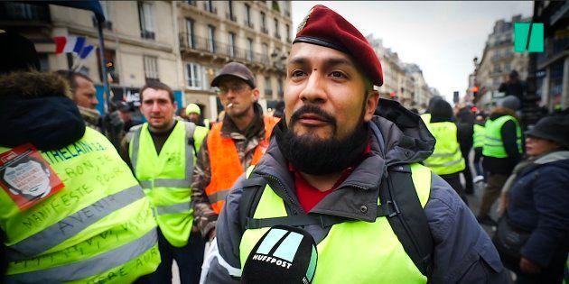 Victor Lenta, interviewé le 12 janvier par Le HuffPost à la manifestation parisienne des gilets